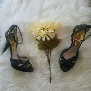 NWOT Michael Kors Black Leather Ankle Strap Heels